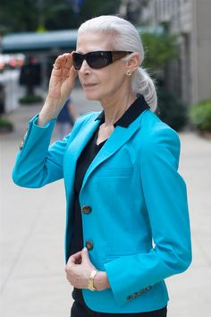 Pool Blue Blazer and Black: Nancy Ozelli-Model Off Duty