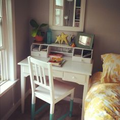 Dipped chair, painted desk and pops of yellow