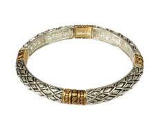 Silver and Gold Tone Celtic Design Stretch Bracelet Amazon Curated Collection. $18.00. Made in China