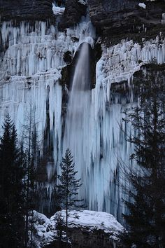 Frozen Pericnik Waterfall, Triglav National Park, Slovenia