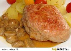 Vepřová kapsa plněná,se žampiony recept - TopRecepty.cz Pork, Chicken, Diet, Kale Stir Fry, Pork Chops, Cubs