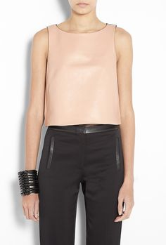 nude leather top+ black leather pants/leather love/ beauty/ women's fashion and style