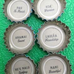 Hawaiian phrases & bottle tops
