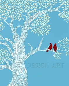 Robin's Red  11x14 by sarusdesignart on Etsy, $35.00
