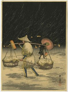 Antique Japanese Woodblock Print Peddler On A Snowy Night By Shotei Takahashi