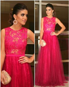 Lace Prom Dresses,Hot Pink Prom Dress,Modest Prom Gown,A Line Prom Gown,Lace Evening Dress,Tulle Evening Gowns,New Fashion Party Gowns