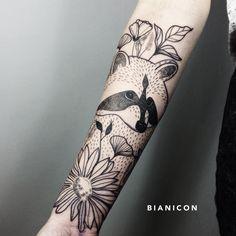 #bianicon #tattoos #flowers #raccoon #black