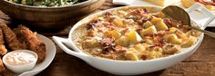 Deliciously rich and creamy, this potato dish is ideal served as a warm side or main meal. Just add steamed veggies or salad. Grated Cheese, Cheddar Cheese, Cheese Bake Recipes, Steam Veggies, Stuffed Mushrooms, Stuffed Peppers, Vegetarian Options, Potato Dishes, Main Meals