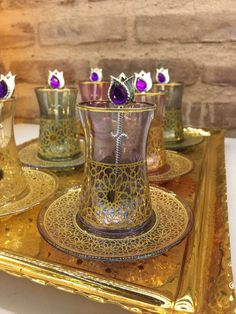LUXURIOUS TURKISH TEA SET - HANDMADE, COPPER