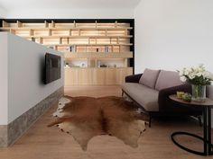 Tévésarok állatbőr szőnyeggel - nappali ötletek, modern stílusban