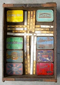 """Cigarette Tins and Rulers Assemblage """"Cross"""" April 2010"""