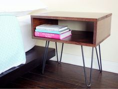 DIY Mid-Century Modern Side Table with hairpin legs