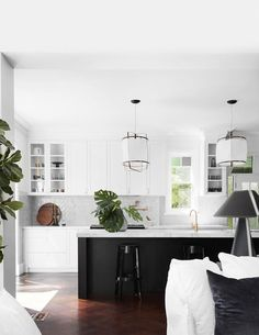 A monochrome kitchen in a renovated Federation home.