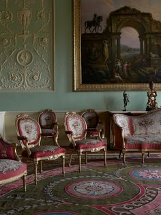 The Music Room is considered to be the most complete example of Adam's interiors at Harewood. The circular design creates a sense of movement and melody which is enhanced by Joshua Reynold's Mrs Hale as Euphrosyne lightly dancing into the room.
