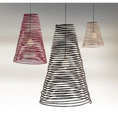 Pendant Light | SPIRAL  Type: Pendant light Material: Abaca fibre with copper wire  Colours: Black, red or natural Dimensions:  Small - 500mm High x 400mm Diam. Medium - 800mm High x 500mm Diam. Large - 1000mm High x 600mm Diam. Includes 1500mm cord Drop: 1500mm max Bulb: B22, ESL or LED x 1  Lead Time up to 4 weeks.  RRP:$223.90(S), $261.50(M), $289.70(L)