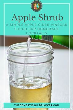 Apple Shrub | The Domestic Wildflower click to read this simple apple cider vinegar shrub recipe that uses just a single apple to make this delicious homemade cocktail mixer that is good for you!