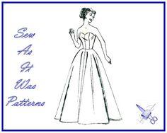 1950s Strapless Flared Skirt Under Dress or by SewAsItWasPatterns