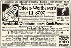 Werbung - Original-Werbung/ Anzeige 1901 - IDEEN WETTBEWERB / KUNST - VERLAG AKD / ALEX KOCH - DARMSTADT - ca.180 x 120 mm