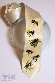 Honey bees men's necktie. Bee hive tie. Ivory tie for beekeeper or New York beekeeping fan. Beemaster tie. Bumble bee tie by TieStory. on Etsy, $35.00