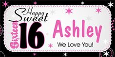 """Celebrate her """"Sweet Birthday"""" in a very special way. This colorful Sweet 16 Birthday Banner is sure to make her day! Sweet 16 Birthday, 16th Birthday, Birthday Wishes, Sweet 16 Parties, Grad Parties, Birthday Parties, Personalized Birthday Banners, Party Banners, Party Themes"""