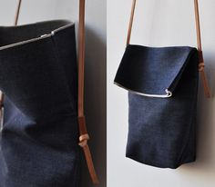 FIELD BAG  indigo denim by bookhoudesign on Etsy