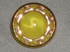 """Vintage Lemon Yellow Gold Luster Moonglow Glass Button 5/8"""""""