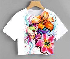 Fabric Paint Shirt, Fabric Painting On Clothes, T Shirt Painting, Painted Clothes, Diy Clothes Design, Crochet Shoes Pattern, Fabric Paint Designs, Beachwear Fashion, Custom Tee Shirts