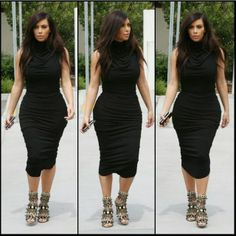 Kimmy in sleeveless turtleneck and #ALAIA sandals.