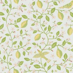 Rejuvenate your home with this Amalfi wallpaper from Sandberg Wallpaper. The colorful wallpaper is inspired by the Italian city Amalfi and its lush lemon groves. The lively pattern is full of thoughtful details that give the room a snug feeling! Tile Wallpaper, Kitchen Wallpaper, Green Wallpaper, Colorful Wallpaper, Beautiful Wallpaper, Country Cottage Bedroom, Coastal Cottage, Country Cottages, French Country Kitchens