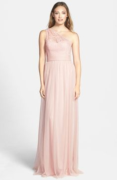 Pink lace one shoulder bridesmaid gown by Amsale
