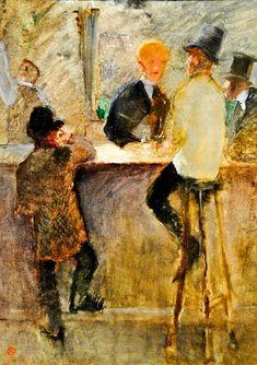 """Henri de Toulouse-Lautrec """"At the Bar"""", 1886 (France, Post-Impressionism / Art Nouveau, 19th cent.)"""