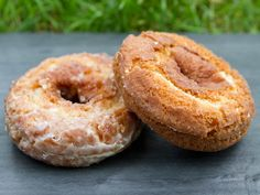 "Cake-style ""Old Fashioned"" doughnuts are dense and just a little crumbly, with a hefty bite that's never dry. The crusts are full of pebbly peaks and valleys; while the thick, sugary glaze adds a deep, satisfying crunch."