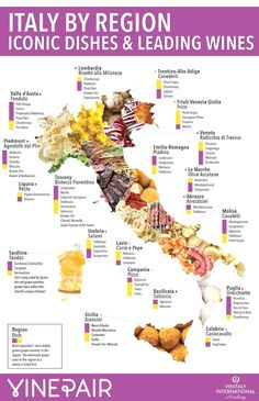 Our infographic shows how intertwined food and wine are in Italy, displaying each region's most famous dish along with its most popular wine. Italy Recipes Få adgang til vores hjemmeside Meget mere information http://storelatina.com/italy/recipes #italia #viagem #feriasitalia #imageitaly