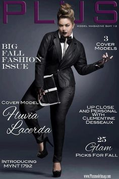 curvy/plus sized fashion  Fluvia Lacerda. September issue cover of Plus Model Magazine