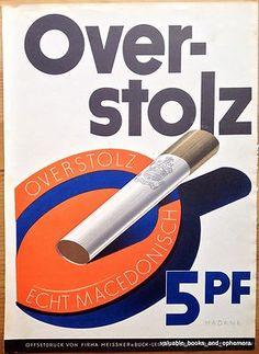 c1930 German CIGARETTE Advertising Poster Art OVERSTOLZ Tobacco Hadank * Offset