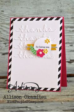 This card features the Endless Thanks stamp set from Stampin' Up!, a great set I know you're going to love! I also adore the Greetings Thinlits Dies I've used to create the subtle, but stunning, white on white background. - Allison Okamitsu
