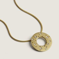 Polo diamond studded 18ct gold necklace | Contemporary Necklaces / Pendants by contemporary jewellery designer Kate Smith