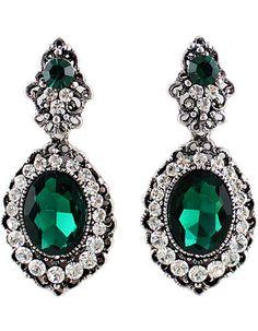 Pendientes dorados diamante piedra-verde 6.24