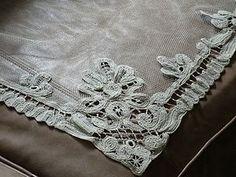 Vintage Battenberg Lace Curtains Edwardian Ecru Handmade Lace Pair 33 x 72