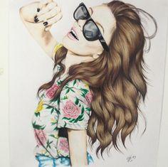draw hipster girl - Buscar con Google