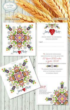 """Zaproszenia Ślubne """"FOLK EXTRA WZÓR KASZUBSKI I"""" Oryginalne, ręcznie wykonane zaproszenia z motywem ludowym.  /// #sylwianadolska #zaproszeniaslubne #zaproszenianaslub #zaproszenia #slub #wesele #wedding #lawenda #słonecznik #vintage #winietki #papeteria #dodatkislubne #zaproszenia http://www.sylwianadolska.com"""