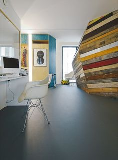 love the recycled timber wall