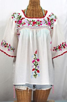"Such a classic!  Siren's ""La Marina"" Mexican Embroidered Peasant Blouse -Classic White :)"