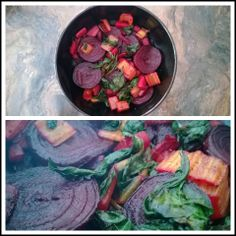 Roasted root vegetables with wilted chard, vegan and vegetarian.