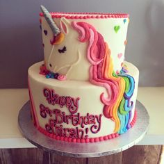 HayleyCakes and Cookies - unicorn cake. Beautiful. For a unicorn themed birthday party (Cake Fondant)