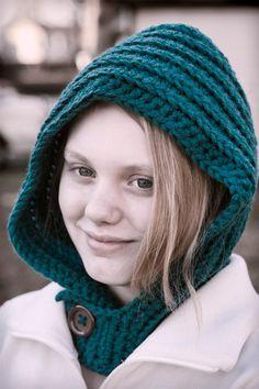 Crochet Hood Button Cowl - #shtf warmth