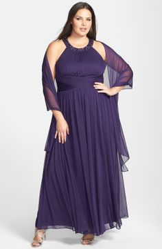 Alex Evenings Beaded Neck Long Dress with Scarf (Plus Size) | Nordstrom