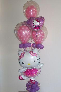 Balloon Character Bouquet for a Hello Kitty Birthday Party Hello Kitty Theme Party, Hello Kitty Themes, Hello Kitty Birthday, Ballon Decorations, Balloon Centerpieces, Balloon Arrangements, Kids Party Themes, Party Ideas, Balloon Delivery