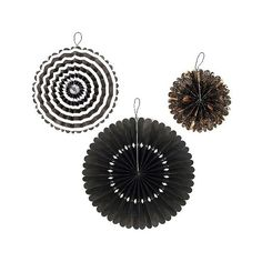 Spritz Halloween Spooky Hanging Fans - 3 pc ($5) ❤ liked on Polyvore featuring home, home decor, holiday decorations, halloween, black, black home decor and halloween home decor