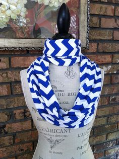 Royal Blue and White Chevron Infinity Scarf by jenniferkatedesigns, $17.00